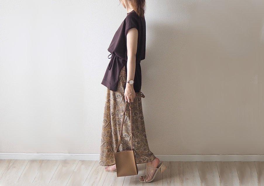 しまむら 柄スカート コーデ 画像